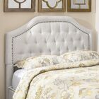 Djibril Scalloped Upholstered Panel Headboard Color: Cotton, Size: King