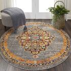 Lundy Traditional Medallion Gray/Orange Area Rug Rug Size: Rectangle 8'9