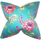 Elissa Floral Cotton Throw Pillow Color: Peacock, Size: 24