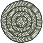 Georgina Ivory/Dark Green Contemporary Area Rug Rug Size: Round 6'