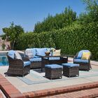 Honey 6 Piece Rattan Sofa Seating Group with Cushions Frame Finish: Gray, Cushion Color: Light Blue