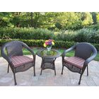 Kingsmill 3 Piece Sunbrella Conversation Set with Cushions Fabric: Brown