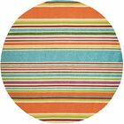 Locklin Hand-Woven Azure/Orange Indoor/Outdoor Area Rug Rug Size: Round 7'10