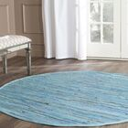 Inkom Hand-Woven Cotton Blue Area Rug Rug Size: Round 6'