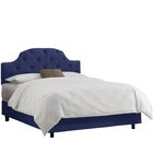 Enedina Upholstered Panel Bed with Mattress Color: Velvet - Navy, Size: California King
