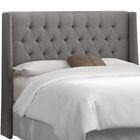 Elsa Upholstered Wingback Headboard Size: Full, Upholstery: Linen Grey