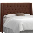 Elsa Upholstered Wingback Headboard Upholstery: Linen Chocolate, Size: King