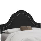 Premier Inset Nail Button Arch Upholstered Panel Headboard Color: Black, Size: Twin