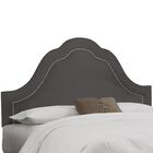 Premier Inset Nail Button Arch Upholstered Panel Headboard Color: Charcoal, Size: Twin