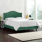 Doleman Upholstered Wood Frame Panel Bed Color: Velvet - Laguna, Size: Twin