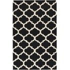 Frank Hand-Hooked Black Area Rug Rug Size: Rectangle 7'6