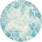 Hand-Tufted Turquoise/Ivory Area Rug Rug Size: Round 7'