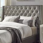 Hazel Upholstered Wingback Headboard Size: Full, Upholstery Color: Silver Gray