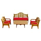 Burliegh 4 Piece Sofa Set with Cushions Fabric: Red