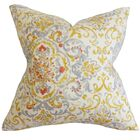Avery Floral Bedding Sham Size: Queen, Color: Gray/Yellow