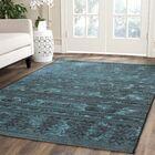 Port Laguerre Black & Turquoise Velvety Area Rug Rug Size: Rectangle 8' x 11'