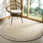 Abhay Hand Woven Cotton Ivory Area Rug Rug Size: Round 5'