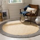 Abhay Hand Woven Cotton Round Ivory Area Rug Rug Size: Round 6'