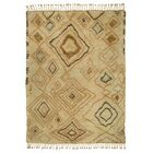Susannah Abstract Diamond Hand-Knotted Wool Ivory/Gold Area Rug Rug Size: Rectangle 9' x 12'