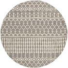 Jeannine Hand-Woven Wool Dark Gray/Ivory Area Rug Rug Size: Round 6'