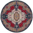 Blokzijl Hand-Tufted Ivory/Pink Area Rug Rug Size: Round 5' x 5'