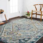 Lorenz Aqua/Navy Area Rug Rug Size: Rectangle 4' x 5'7