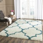 Given Kids Off-White And Teal Shag Area Rug Rug Size: Rectangle 5'3