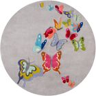 Johnnie Hand-Tufted Gray/Pink Area Rug Rug Size: Round 5'