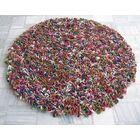Enoki Multi-colored Felted Shag Area Rug Rug Size: Square 7'