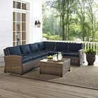 Dardel 5 Piece Sectional Set with Cushions Fabric: Navy