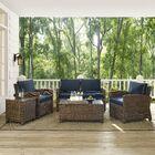 Dardel 5 Piece Rattan Sofa Set with Cushions Fabric: Navy