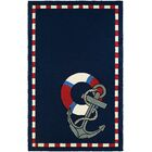 Seaside Anchors Away Hand-Knotted Navy Indoor/Outdoor Area Rug Rug Size: Rectangle 3'6