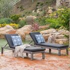 Elmfield Chaise Lounge with Cushion Fabric: Mixed Black/Dark Gray