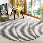 Orwell Hand-Woven Cotton Ivory/Gray Area Rug Rug Size: Round 6'