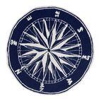 Shelborne Compass Hand-Tufted Indoor/Outdoor Navy Area Rug Rug Size: Round 8' X 8'