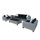 Vizela 5 Piece Rattan Sofa Set with Cushions Fabric: Black and Cream