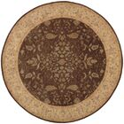 Lundeen Brown/Tan Floral Area Rug Rug Size: Round 9'