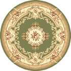 Barwin Green & Ivory Aubusson Area Rug Rug Size: Round 7'7