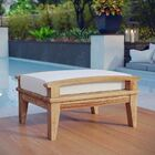 Belle Glade Outdoor Teak Ottoman with Cushion Color: Navy/Brown