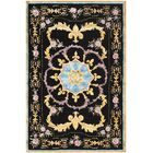 Chaplain Hand-Tufted Black/Yellow/Blue Area Rug Rug Size: Rectangle 8' x 10'