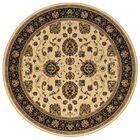 Shelburne Traditional Ivory/Black Area Rug Rug Size: Round 6'