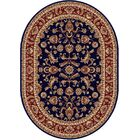 Clarence Navy Blue/Red Area Rug Rug Size: 6'7'' x 9'6'' Oval