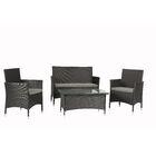Wen 4 Piece Rattan Sofa Set with Cushions Frame Color: Black