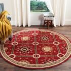 Noham Hand-Hooked Red/Natural Area Rug Rug Size: Round 8' x 8'