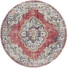 Fitzhugh Rose/Light Gray Area Rug Rug Size: Round 7'