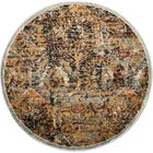 Anders Blue/Orange Area Rug Rug Size: Round 5'3