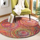 Bowen Hand-Woven Red/Yellow/Puple Area Rug Rug Size: Round 6'