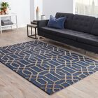 Avery Dark Blue/Taupe Geometric Area Rug Rug Size: Rectangle 3'6