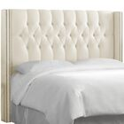 Fitzroy Diamond Upholstered Wingback Headboard Size: Queen, Upholstery: Parchment