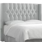 Fitzroy Diamond Upholstered Wingback Headboard Size: King, Upholstery: Shantung Silver